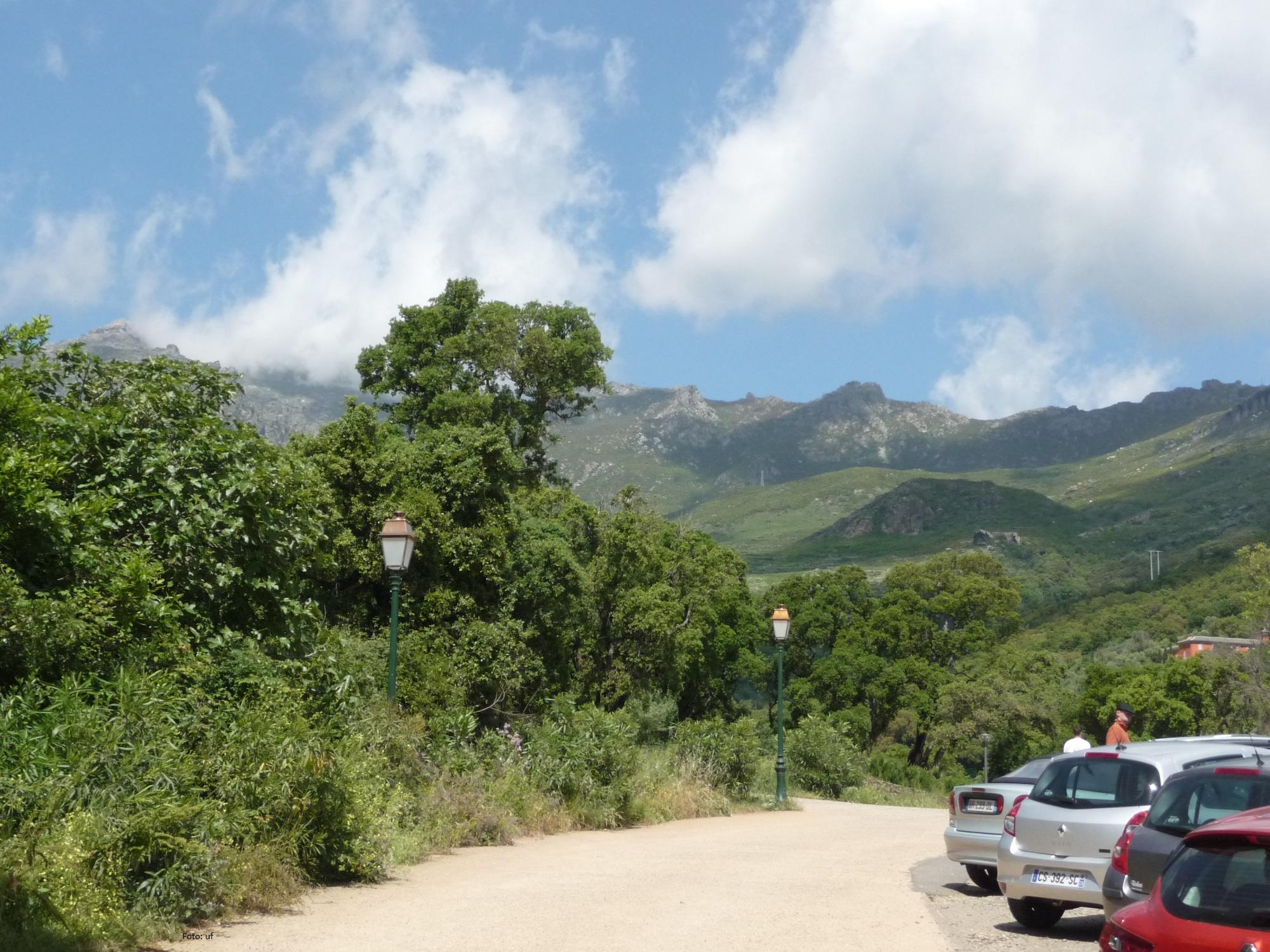 Gebirgszug aus Schiefergestein mit dem höchsten Berg Monte Stello von Cap Corse (1307 m)