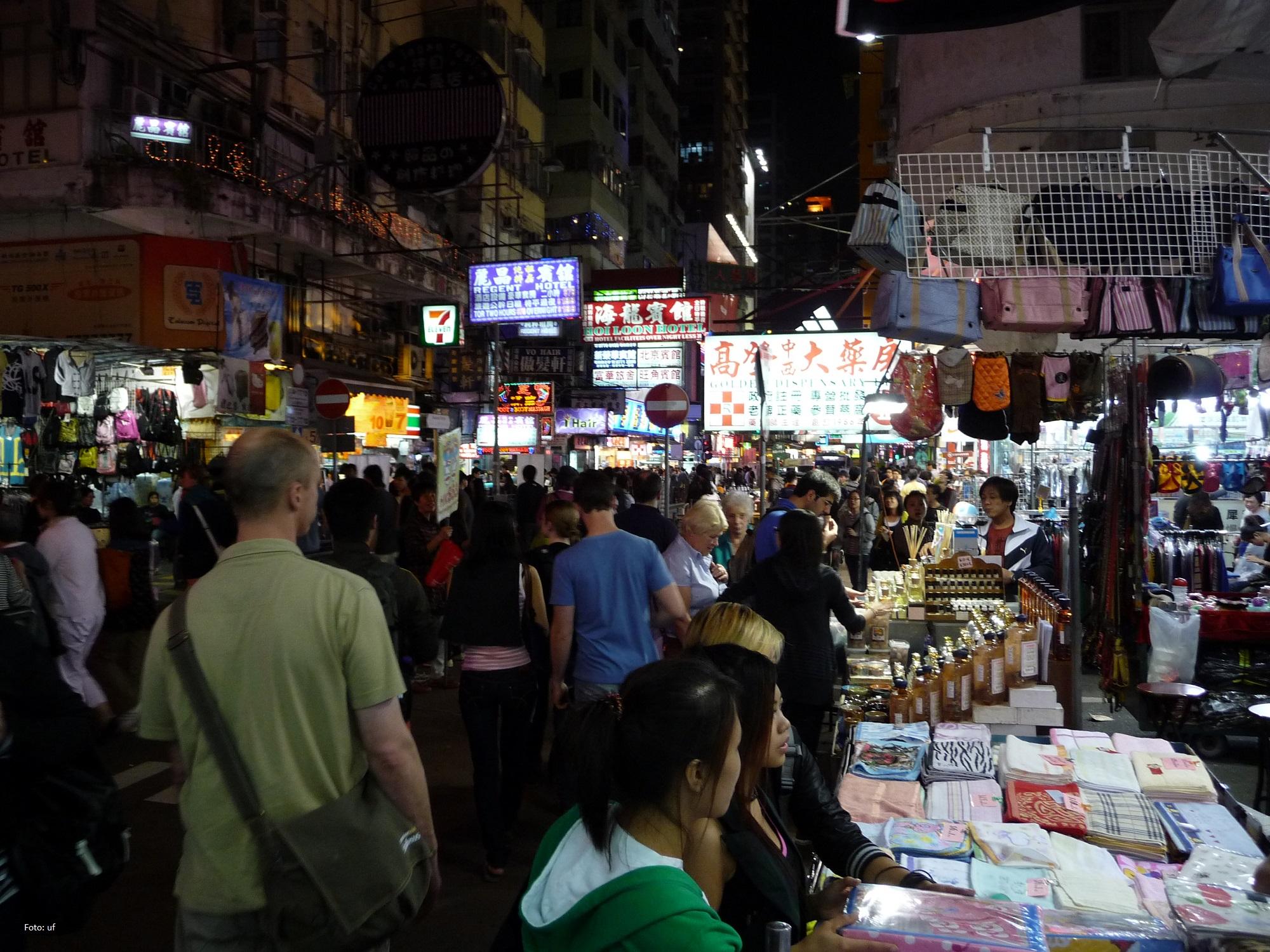 Nachtmarkt In den Nebenstraßen der Nathan Road