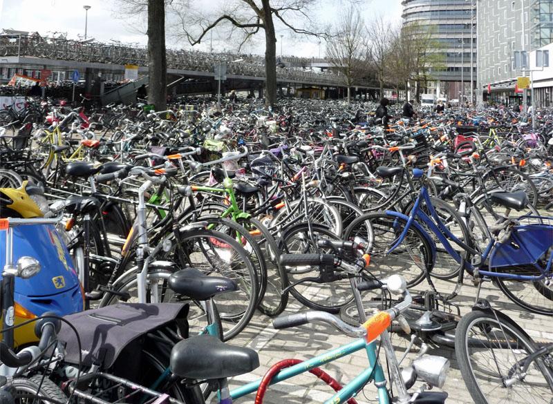 Ein typisches Fotomotiv in Amsterdam ist dieser Fahrradstellplatz. Wie finden man hier nur sein Rad wieder?