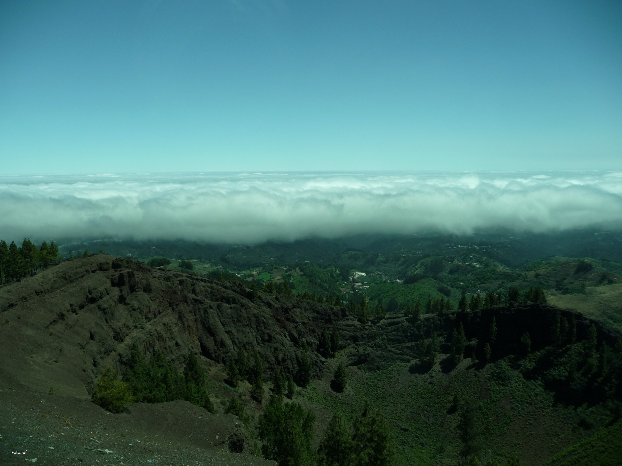 Die Feuchtigkeit der Passatwinde sorgt für Nebel und Wolkenbildung und dadurch zur grünen Vegetation im Norden der Insel.